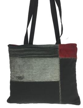 Black and grey tonal patchwork tote bag : TBR02-1-sm