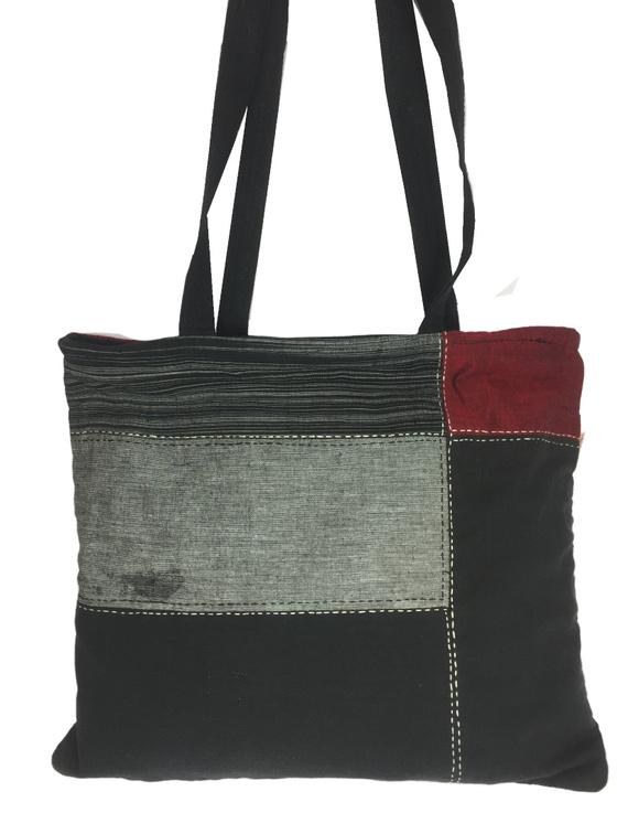 Black and grey tonal patchwork tote bag : TBR02-1