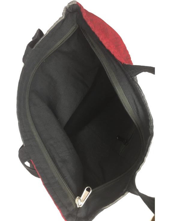 Black and grey tonal patchwork tote bag : TBR02-3
