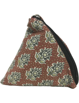 Small coin purse in block print fabric : MSC01-3-sm