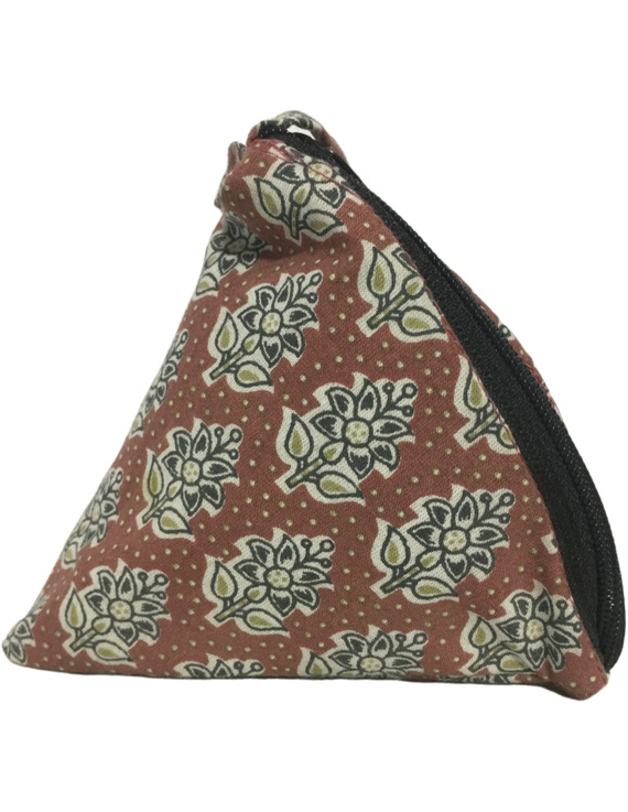 Small coin purse in block print fabric : MSC01-3