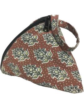 Small coin purse in block print fabric : MSC01-1-sm