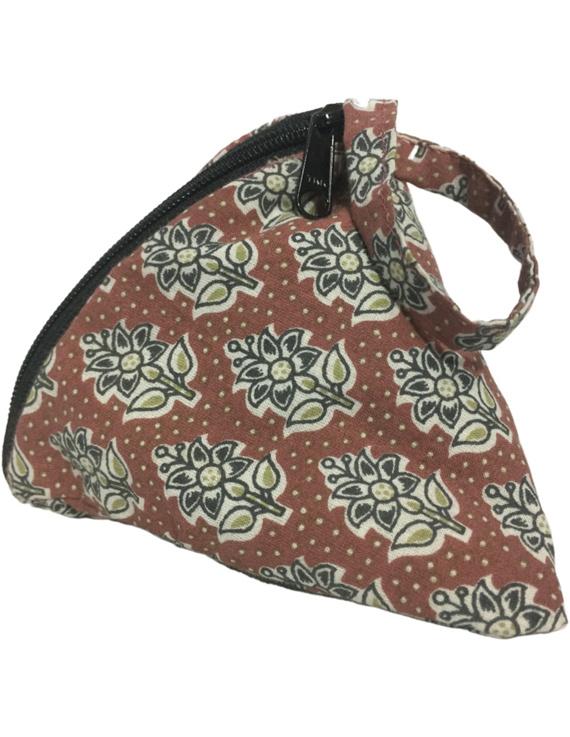 Small coin purse in block print fabric : MSC01-1