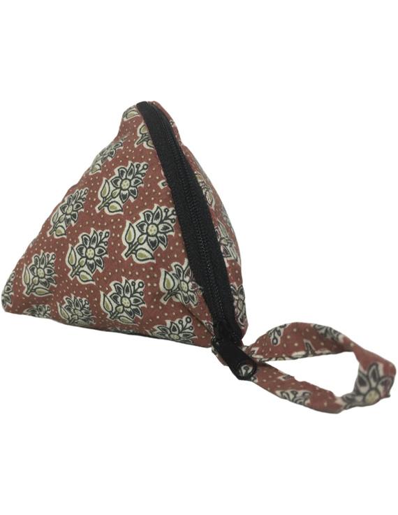 Small coin purse in block print fabric : MSC01-2