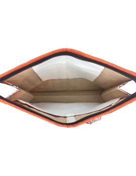 Jute and kalamkari laptop bag - orange : LBJ01-3-sm