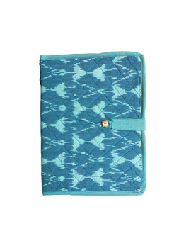 Teal blue ikat file folder with button: SFB04-5-sm