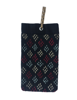 Silk Cell Phone pouch with saree hook - black large : CPSL02-3-sm