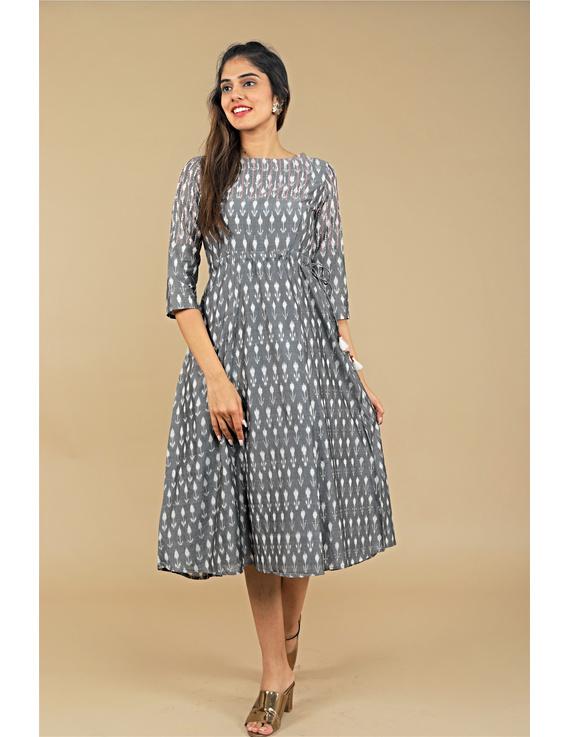 Grey LEAF IKAT DRESS : LD390B-LD390B-S