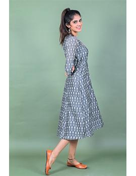 Grey LEAF IKAT DRESS : LD390B-S-3-sm