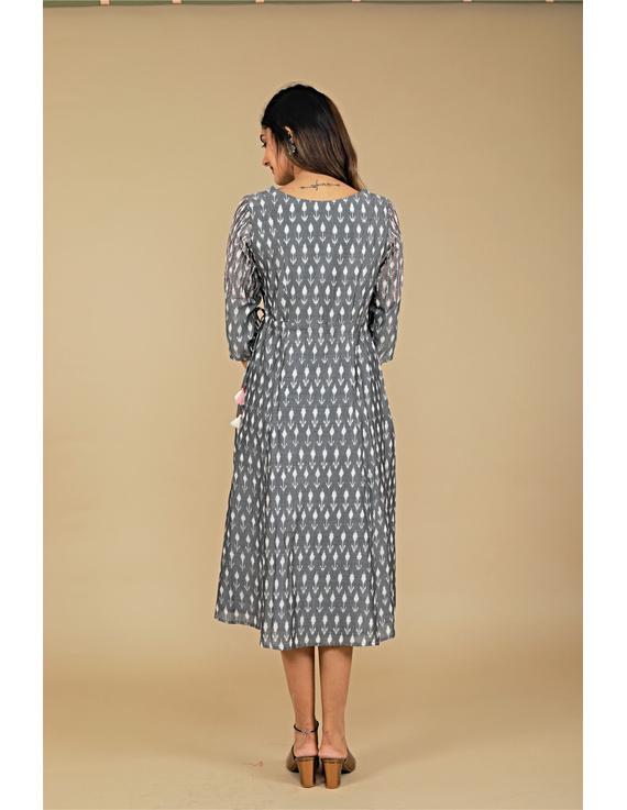 Grey LEAF IKAT DRESS : LD390B-S-2