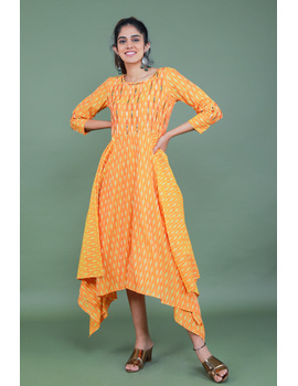 Golden yellow semi silk ikat dress with a handkerchief hem: LD500C-LD500C-M-sm
