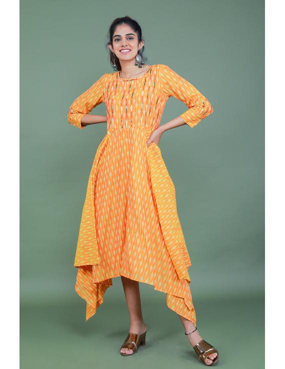 Golden yellow semi silk ikat dress with a handkerchief hem: LD500C-LD500C-M