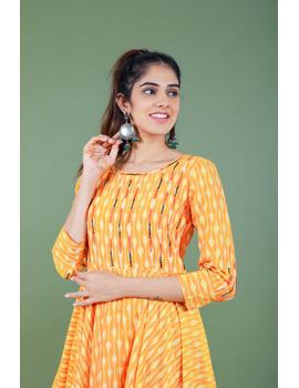 Golden yellow semi silk ikat dress with a handkerchief hem: LD500C-M-2-sm