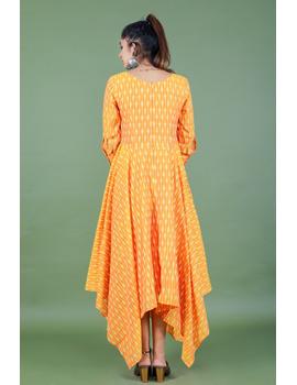 Golden yellow semi silk ikat dress with a handkerchief hem: LD500C-M-3-sm