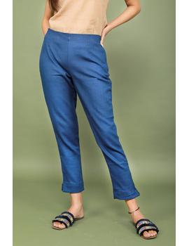 Blue cotton narrow pants with elasticated waist: EP02A-EP02A-XXL-sm