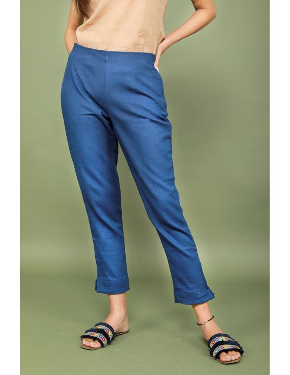 Blue cotton narrow pants with elasticated waist: EP02A-EP02A-XXL