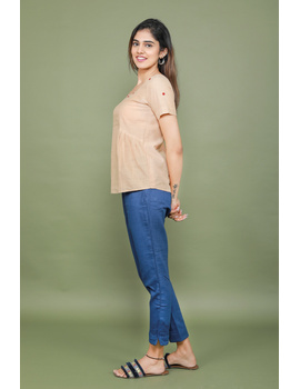 Blue cotton narrow pants with elasticated waist: EP02A-XXL-1-sm