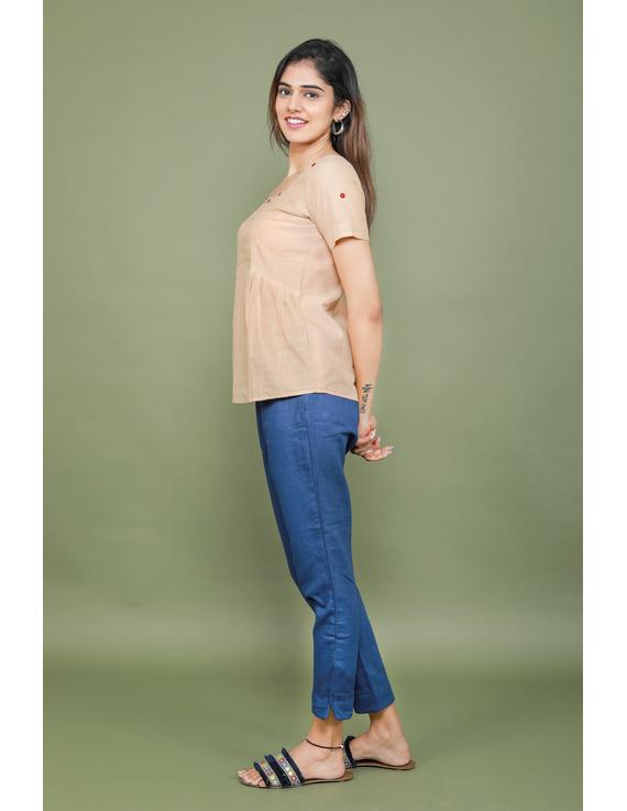 Blue cotton narrow pants with elasticated waist: EP02A-XXL-1