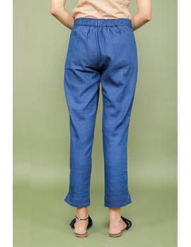 Blue cotton narrow pants with elasticated waist: EP02A-XXL-2-sm