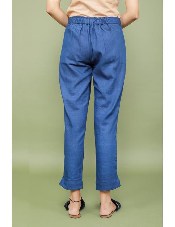 Blue cotton narrow pants with elasticated waist: EP02A-XXL-2
