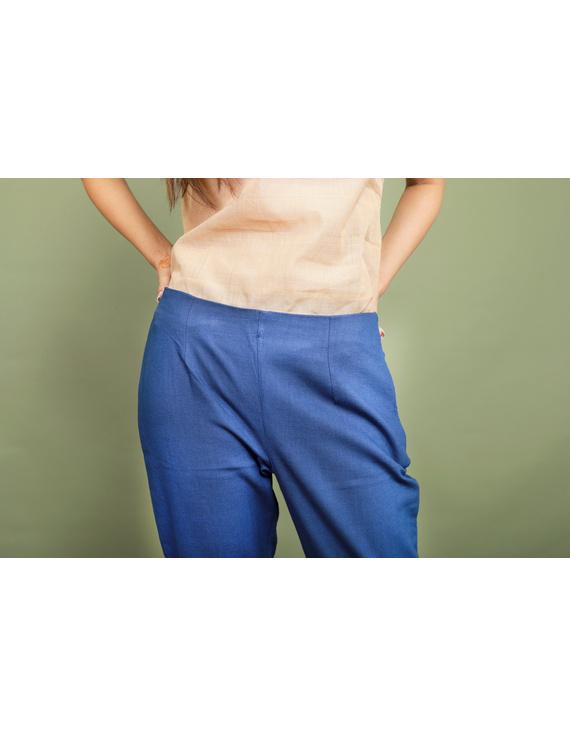 Blue cotton narrow pants with elasticated waist: EP02A-XXL-3