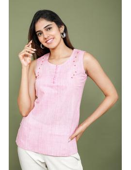 Summer Trellis Short Top In Pink Mangalagiri : Lb120A-LB120A-XL-sm