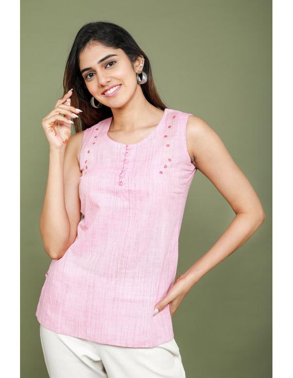 Summer Trellis Short Top In Pink Mangalagiri : Lb120A-LB120A-XL