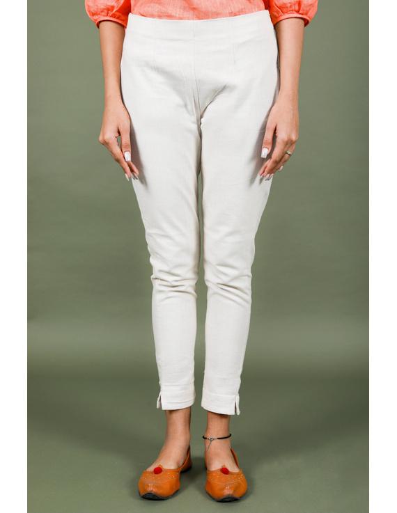 Cream cotton narrow pants with elasticated waist: EP02B-L-1