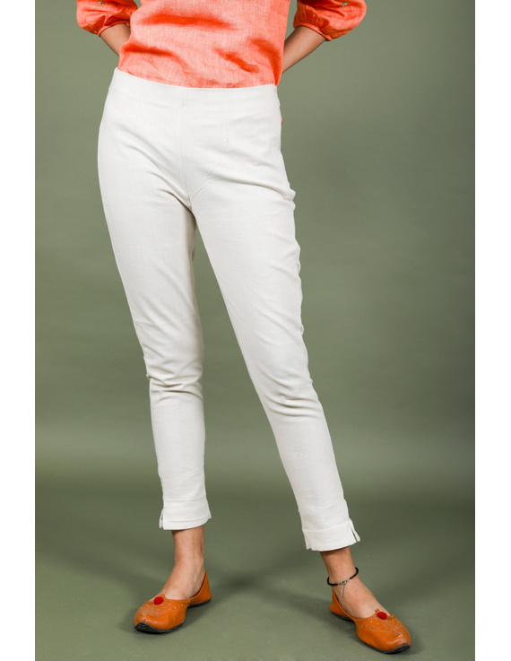 Cream cotton narrow pants with elasticated waist: EP02B-EP02B-L