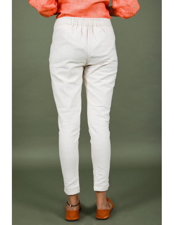 Cream cotton narrow pants with elasticated waist: EP02B-L-2