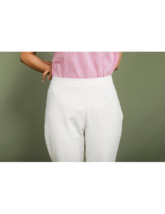 Cream cotton narrow pants with elasticated waist: EP02B-L-3