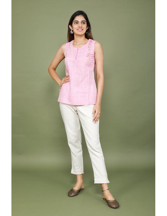 Summer Trellis Short Top In Pink Mangalagiri : Lb120A-XL-1