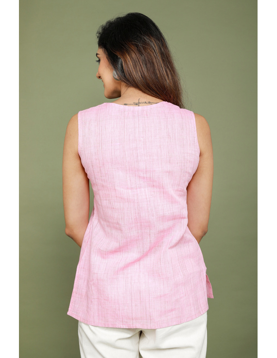 Summer Trellis Short Top In Pink Mangalagiri : Lb120A-XL-4