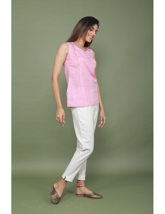 Summer Trellis Short Top In Pink Mangalagiri : Lb120A-XL-3