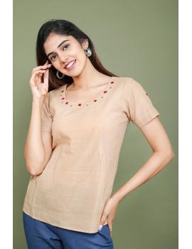 Beige cotton short top with round neck-LB150A-LB150A-XS-sm