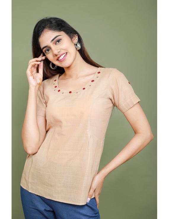 Beige cotton short top with round neck-LB150A-LB150A-XS