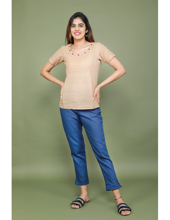 Beige cotton short top with round neck-LB150A-XS-1