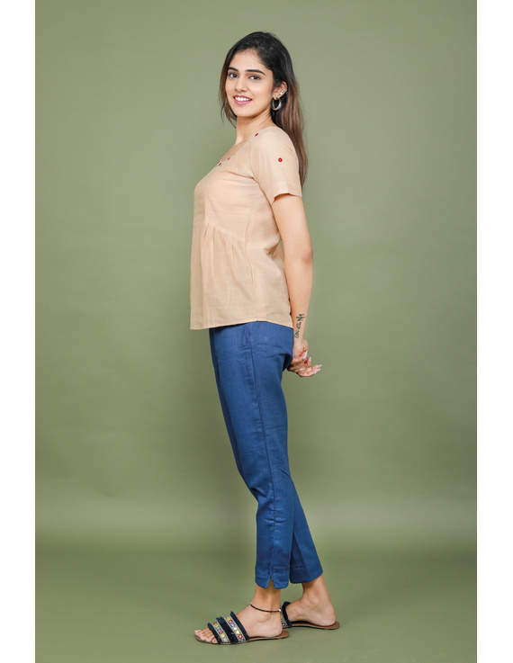 Beige cotton short top with round neck-LB150A-XS-3