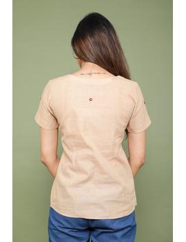 Beige cotton short top with round neck-LB150A-XS-4-sm
