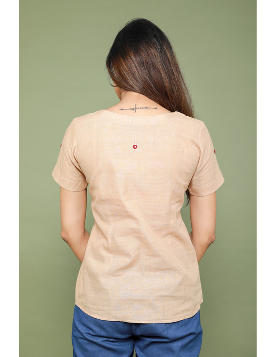 Beige cotton short top with round neck-LB150A-XS-4