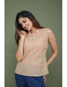 Beige cotton short top with embroidered V neck-LB160A-S-2-sm
