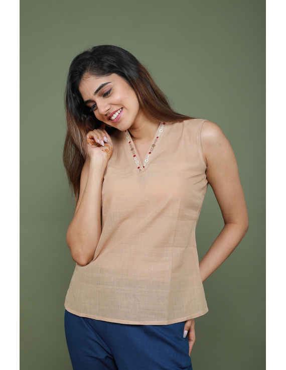 Beige cotton short top with embroidered V neck-LB160A-S-2