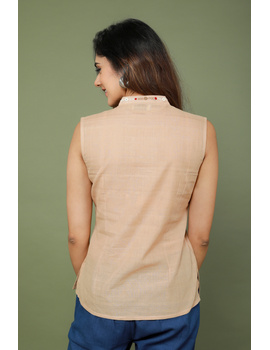 Beige cotton short top with embroidered V neck-LB160A-S-3-sm