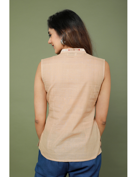 Beige cotton short top with embroidered V neck-LB160A-S-3