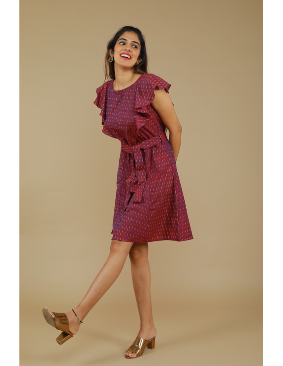 Purple ikat short dress with front frills:LD660A-S-2