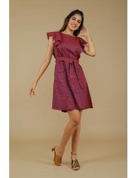 Purple ikat short dress with front frills:LD660A-LD660-sm