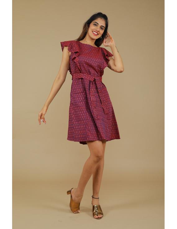 Purple ikat short dress with front frills:LD660A-LD660