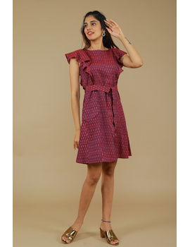 Purple ikat short dress with front frills:LD660A-S-3-sm