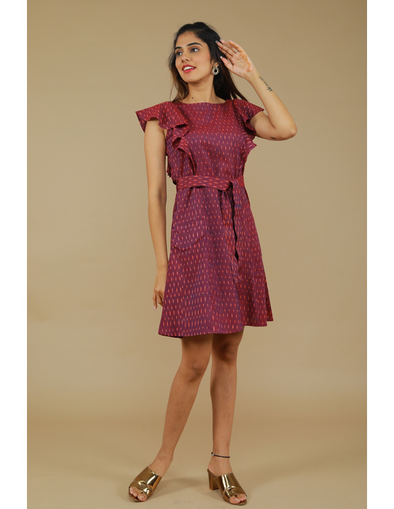 Purple ikat short dress with front frills:LD660A-S-3