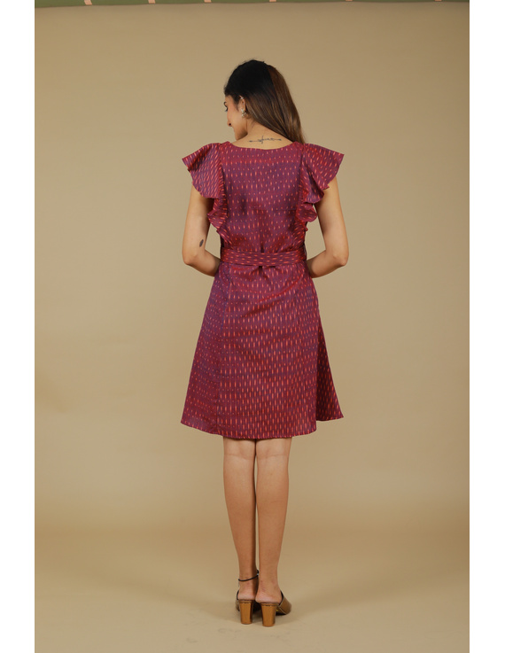 Purple ikat short dress with front frills:LD660A-S-4